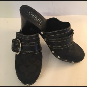Coach Black Stable Studded Mules/Clogs